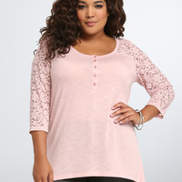 Lace Inset Henley Tee