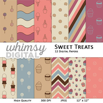Sweet Treats Digital Paper with Cupcakes, Cookies, Ice Cream Cones, Lollipops, Chevron, Stripes, and Waves in Purple, Blue, Tan, and Pink