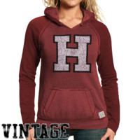 Original Retro Harvard Crimson Ladies Two-Toned V-Neck Hooded Sweatshirt - Crimson