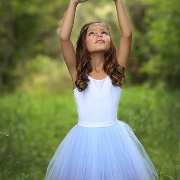 Mini Ballerina : hand dyed  tulle skirt / girl tutu / flower girl skirt / childrens tutu / flower girl dress / girl tulle skirt / ombre tutu