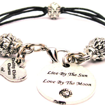 Live By The Sun Love By The Moon Beaded Black Cord Bracelet