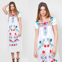Vintage MEXICAN Dress White EMBROIDERED Ethnic Hippie Dress Boho Festival Dress Tent Dress Midi Dress