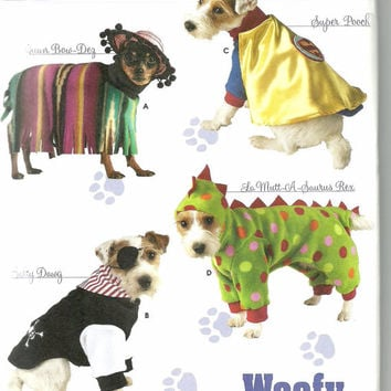 Uncut Sewing Pattern, Simplicity 3667, Dog Pet Clothes, Costumes, Superman, pirate, mexican, dinosaur, Woofy Wear by Wendy, 3 sizes small