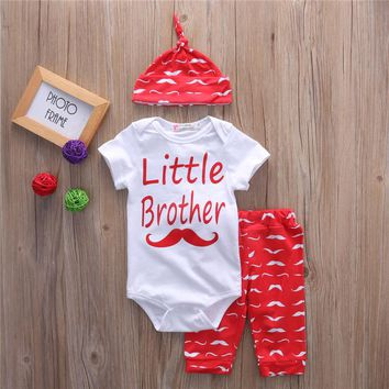 Short Sleeve Baby Mustache Clothes Sets Little Brother Romper Casual Long Pants Cute Outfit