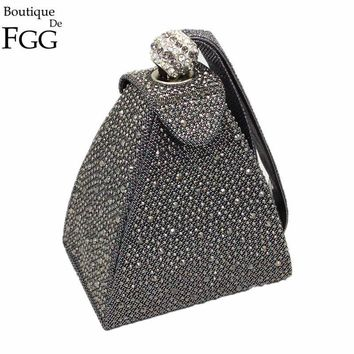 Women Pyramid Shaped Evening Wristlet With Rhinestone Detailing