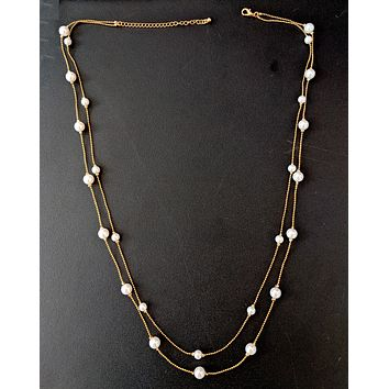 Double stranded faux pearl bead long chain necklace for western wear