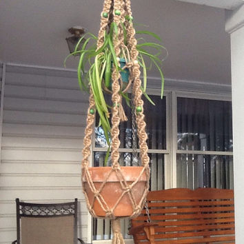 Macrame Plant Hanger, two tier, double hanger, natural 6 ply jute with green and tan wooden beads, retro style,