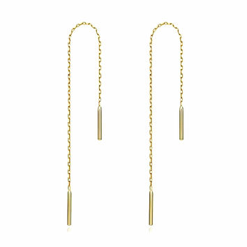Weighted Chain Threader Earrings in 14k Yellow Gold