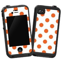 "Tangerine Polka Dot on White ""Protective Decal Skin"" for LifeProof iPhone 4/4s Case"
