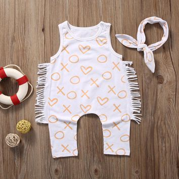 Newborn Toddler Baby Girl Boy Print Romper Jumpsuit Clothes Outfit Sunsuit Set