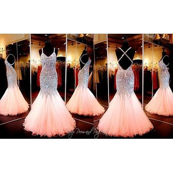 2016 New Real Picture Pink Beaded Crystal Sexy Backless Eveninig Dresses Coral Mermaid Prom Dress