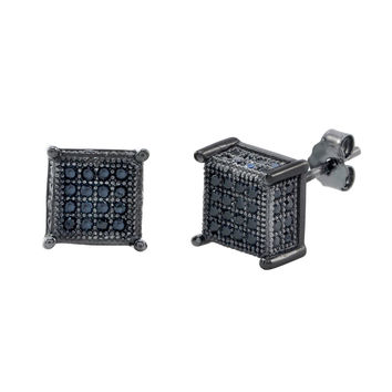 Sterling Silver Square Black Cubic Zirconia Stud Earrings 4 Prongs 8mm