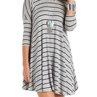 Charcoal Combo Striped Trapeze T-Shirt Dress by Charlotte Russe