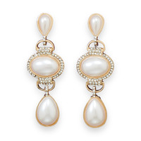 Classic Gold Tone Simulated Pearl and Crystal Fashion Drop Earrings