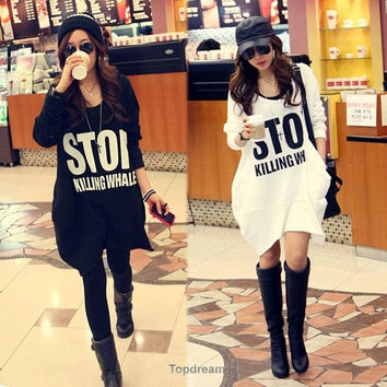 Women Loose Oversized Long Outwear Pullover Jumper Tops Sweater Shirt Blouse TPD = 1932658180