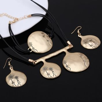 jewelry sets bridal rose gold Round Engraving Flower fashion Statement necklace earrings Leather jewellery set wedding women