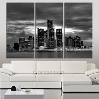 LARGE Wall Art Canvas Print Detroit Night Skyline 3 Piece Wall Canvas Art Print - Detroit Citycape Large Canvas Art Print - Giclee Print - MC38