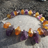 Flavors of Mardi Gras - Baltic Amber and Amethyst Bracelet