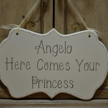 "Wedding Sign, Hand Painted Wooden Cottage Chic Personalized Flower Girl / Ring Bearer Sign, ""Here Comes Your Princess"""