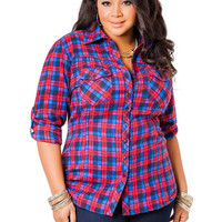 Red and Blue Flannel Cinch Waist Shirt