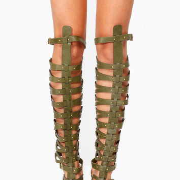 Breckelles Military Green Thigh High Gladiator Heels
