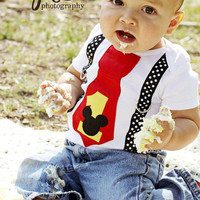 Mickey Mouse Birthday Tie and Suspenders Onesuit for Baby Boy First Birthday Disney Clothing Birthday Party Little Man Tie Outfit