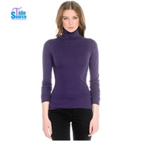 TideSource 2016 New Brief Long Sleeve Turtleneck Basic Women Sweater Autumn Winter Knitted Slim Casual Purple Pullover Sweaters