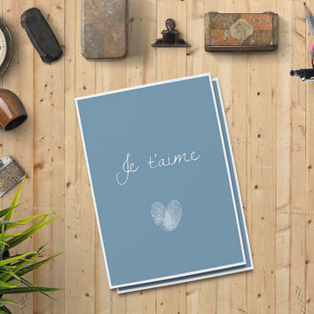 "Valentine's Day Card for him, Je t'aime Card for him, Digital Print Printable Card 5""x7"" Instant Download - Digital Print"