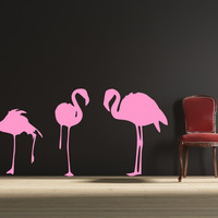 Flamingos Wall Decal -by Decor Designs Decals, pink flamingos, hawaiian decal, tropical decals, flamingo decal, animal decals, tropical bird decals, tropical birds