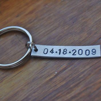 Simple DATE custom, hand stamped, tag keychain