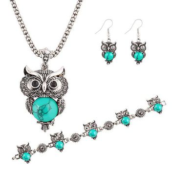 Brand Design Jewelry Sets Plating Silver Retro Turquoise Pendant Necklace Owl drop earrings & Charm bracelet Gift women