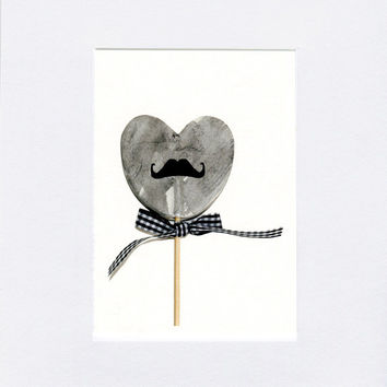 I heart you greeting card, fathers day card, lolli mustach, photo of clay heart with gingham boy tie, valentine, love you card