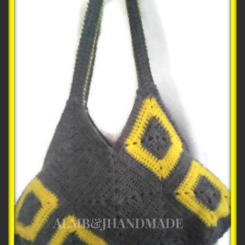 Granny Square Bag , Crochet Tote Bag , Gray Granny Square Bag , Yellow Granny Square Bag , Granny Square Purse , Crochet Market Bag