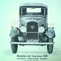 Art Deco Vintage French Ad Peugeot Automobile 1931