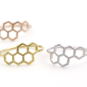 Honeycomb Honey Bee Hexagon Geometric Ring in 3 colors