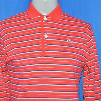 80s Izod Lacoste Red Grey Striped Polo Shirt Youth Large