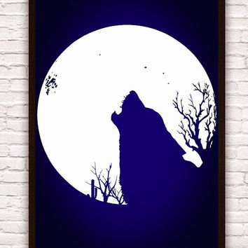 Howling Wolf & Full Moon w/ Cactus // Navy Blue and White // Home Decor - Southwest Dessert // Poster Print