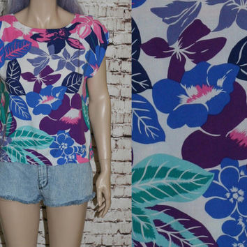 70s Crop Top Tropical Tropical Floral Hawaiian Tiki Gypsy Boho Festival cotton Shirt Blouse XS S Pin Up