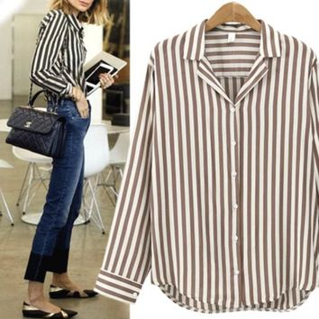 Spring Autumn Women Blouse Flower V-Long Sleeve Work Shirts Women office Tops Striped blouse for business