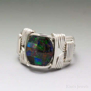 Black Mosaic Man-Made Gilson® Opal Sterling Silver Wire Wrap Ring