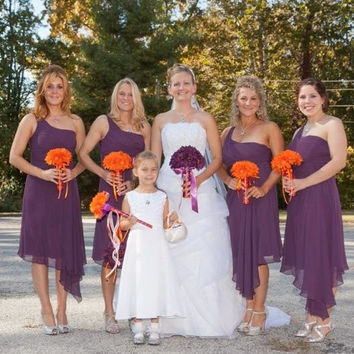 Choose Plum or Orange Daisy Bouquet with Boutonniere, Orange Bridal Bouquet, Plum Wedding Bouquet Plum, Purple Orange Bouquet Plum