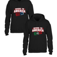 made in america italian and puerto rican parts matching couple sweatshirt - Couple hoodie
