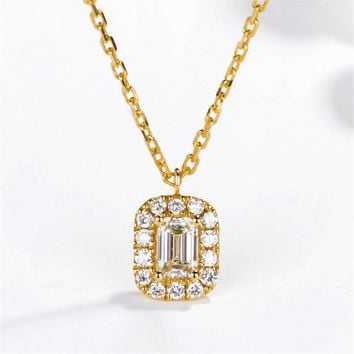Emerald Cut Center 0.29cttw Real Diamond Halo Pave Set 18k Yellow Gold Pendant Necklace (CFSP0001)