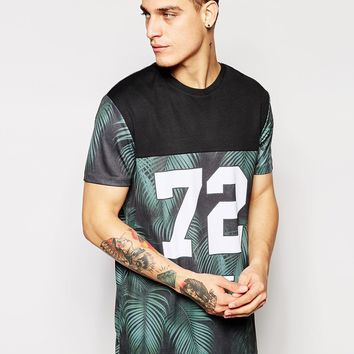 ASOS Longline T-Shirt With Floral Varsity Print