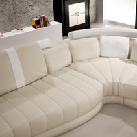 Rounded Moderna Cream and White Bonded Leather Sectional Sofa