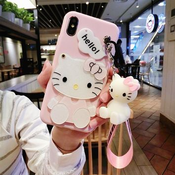 For iPhone X/7 8 6 6s plus case Hello kitty For samsung galaxy s8 plus s6 s7 edge case cartoon mirror cover + stand doll + rope