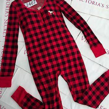 New Victoria's Secret Red Black Plaid Onesuit M Rare PINK Thermal Pajamas Gold