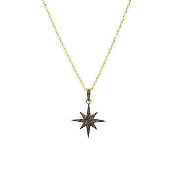 The Procyon, A Handmade 22CT Yellow Gold Natural Diamond Star Burst Necklace