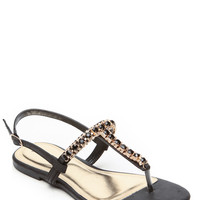Bamboo Black Gem Stone Mystery Sandals