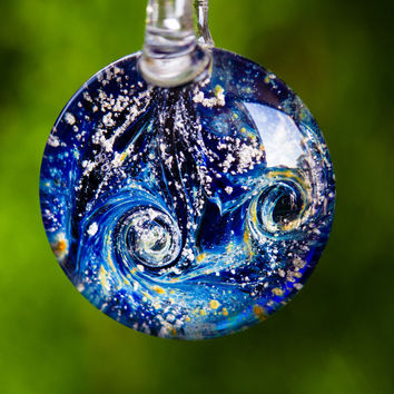 Glass Pendant Necklace Jewelry with Cremated Ashes - Night Swirl Design